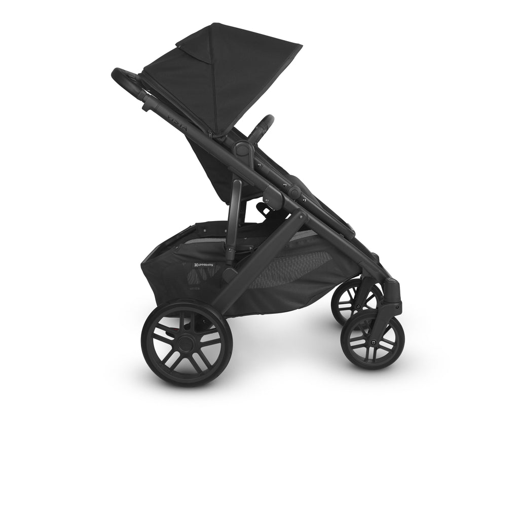uppababy vista v2 jake charcoal carbon frame black leather side