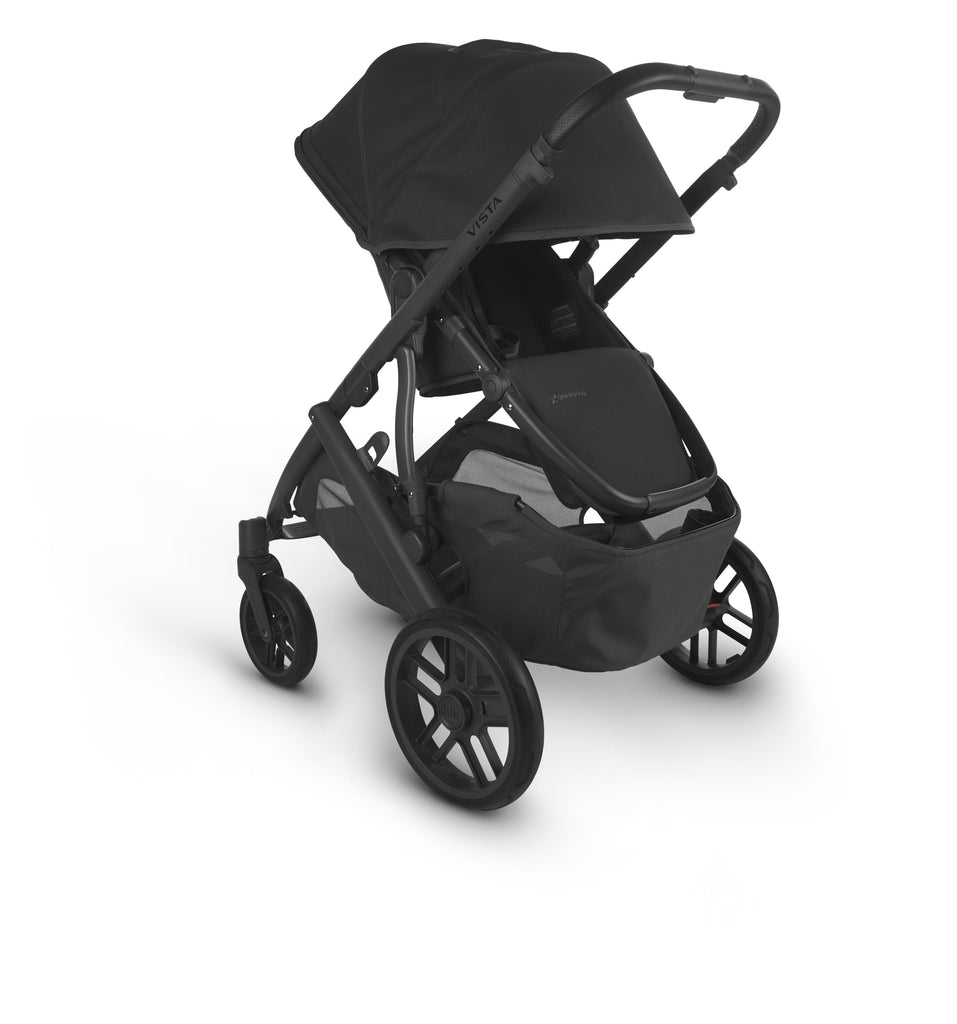 uppababy vista v2 jake charcoal carbon frame black leather parent facing canopy down