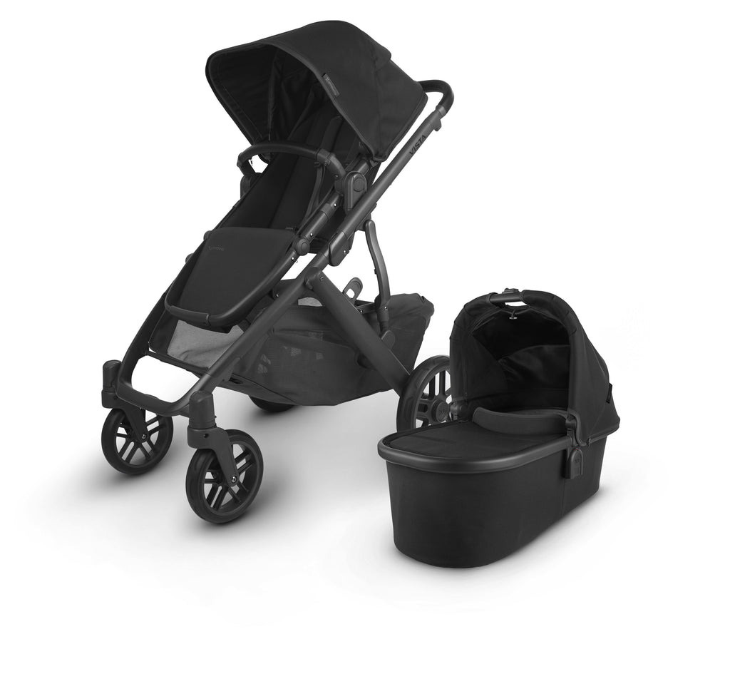 uppababy vista v2 jake charcoal carbon frame black leather with bassinet