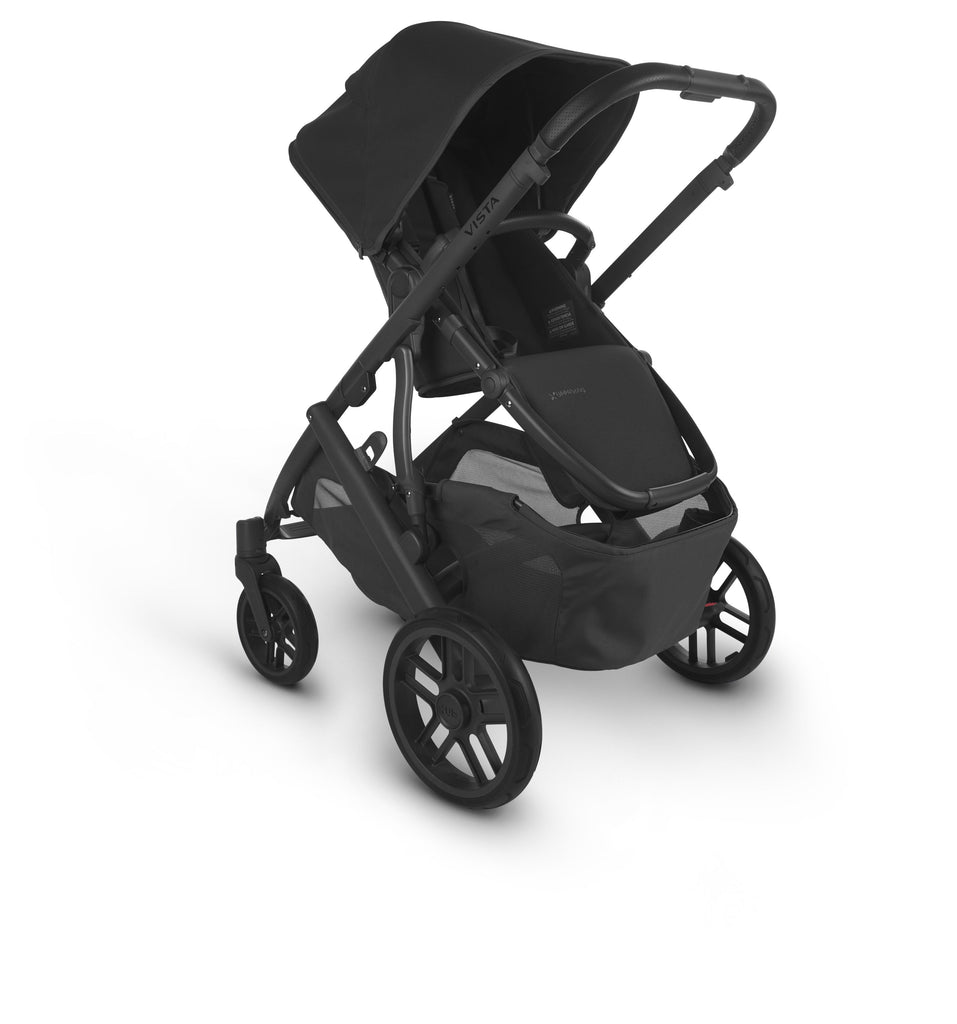 uppababy vista v2 jake charcoal carbon frame black leather parent facing