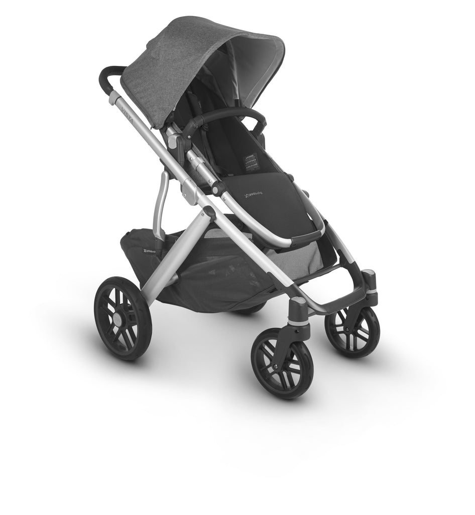 uppababy vista v2 stroller jordan charcoal melange silver frame black leather forward facing
