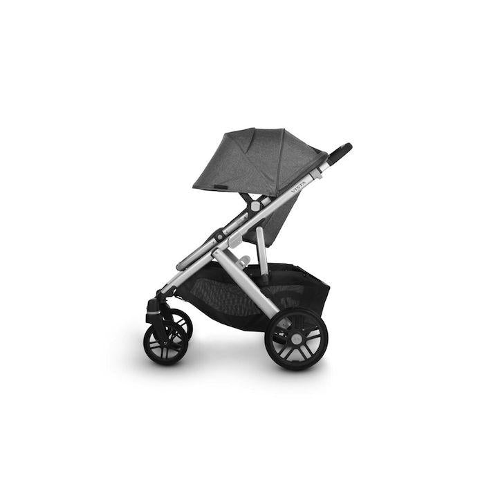 uppababy vista v2 stroller jordan charcoal melange silver frame black leather side canopy down
