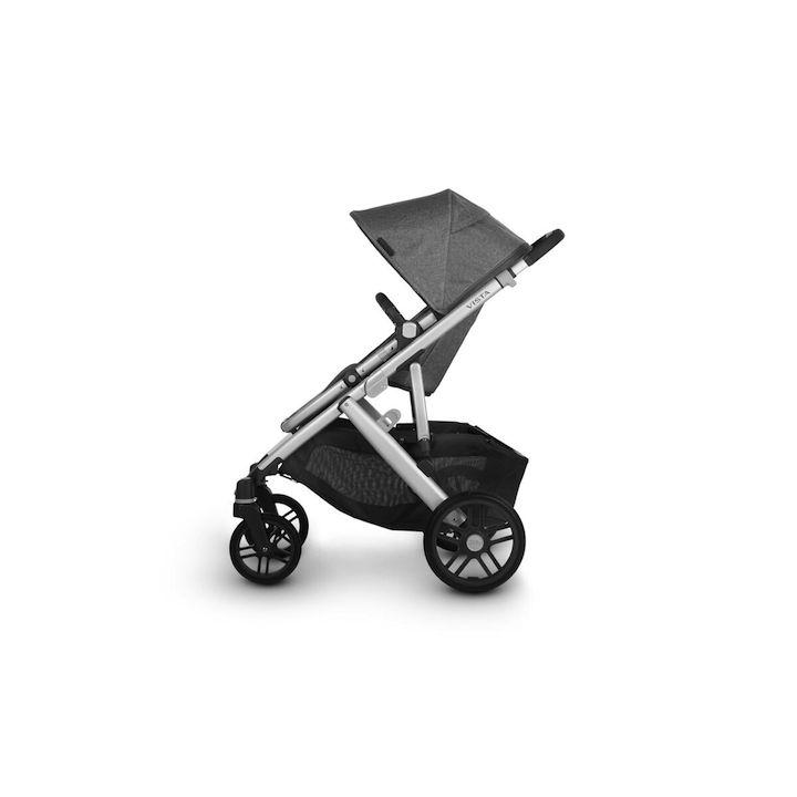 uppababy vista v2 stroller jordan charcoal melange silver frame black leather side