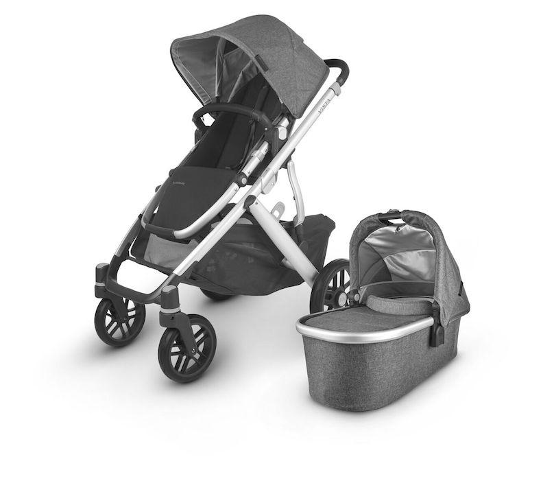 uppababy vista v2 stroller jordan charcoal melange silver frame black leather with bassinet