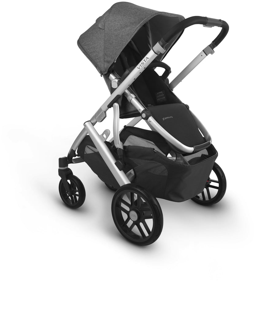 uppababy vista v2 stroller jordan charcoal melange silver frame black leather parent facing