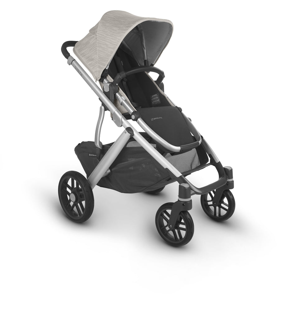 uppababy vista v2 stroller sierra dune knit silver frame black leather forward facing