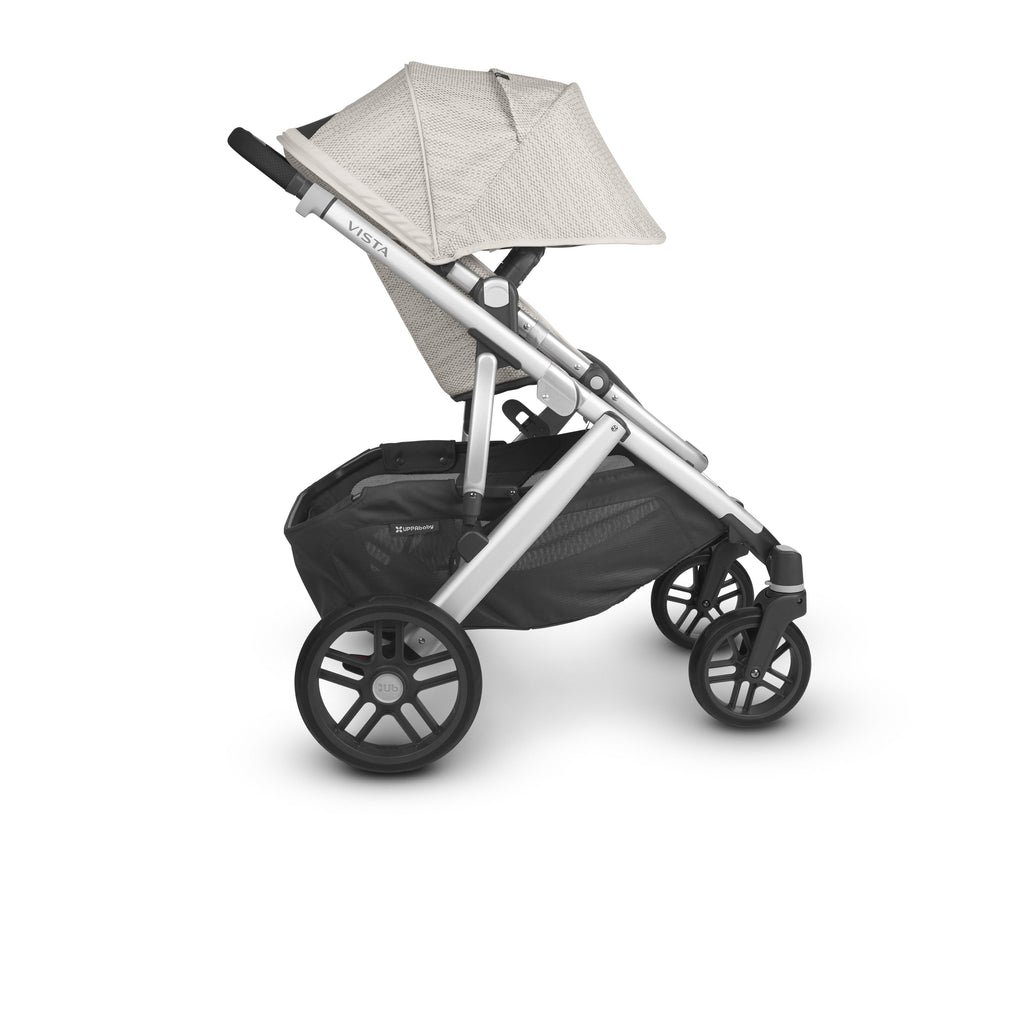 uppababy vista v2 stroller sierra dune knit silver frame black leather side canopy down