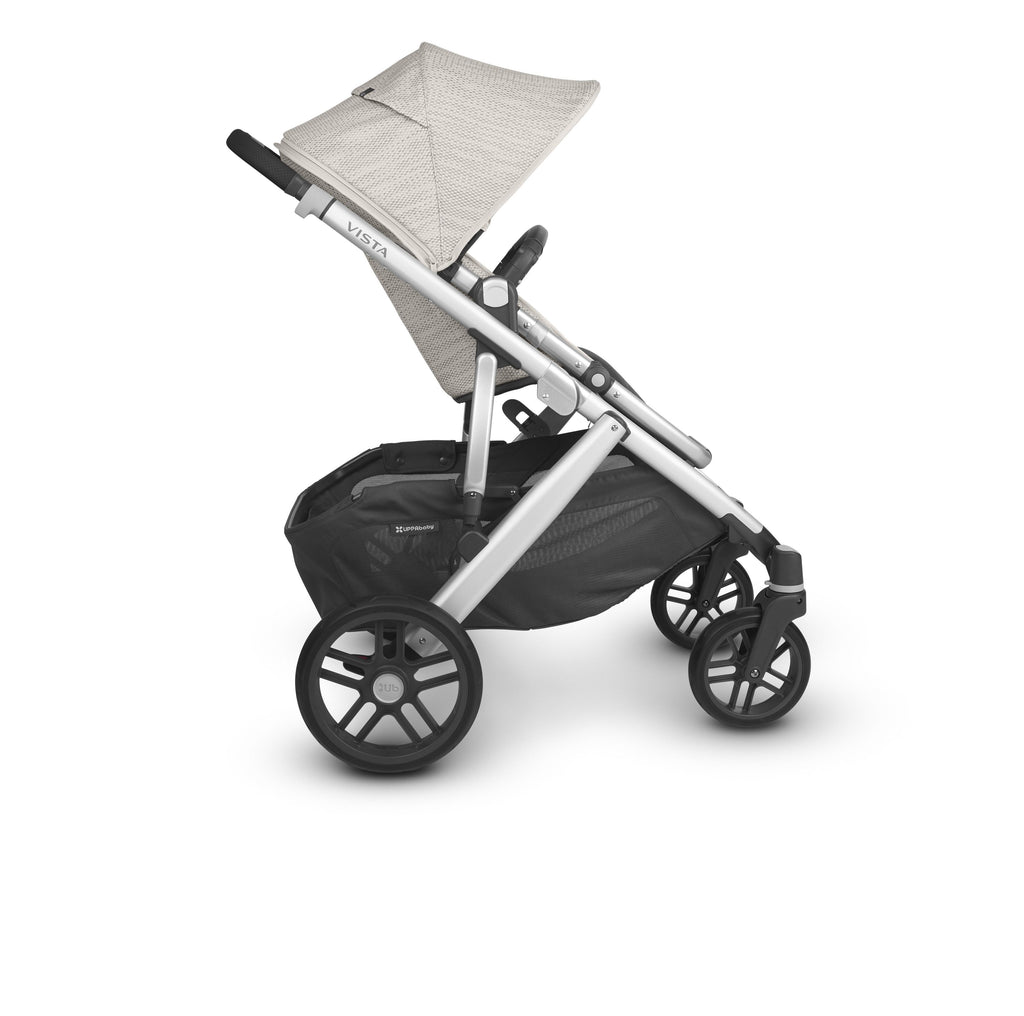 uppababy vista v2 stroller sierra dune knit silver frame black leather side