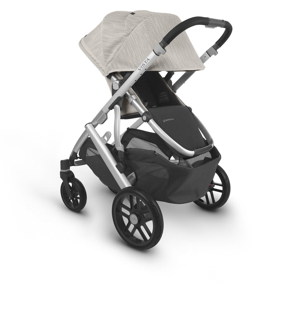 uppababy vista v2 stroller sierra dune knit silver frame black leather parent facing canopy down