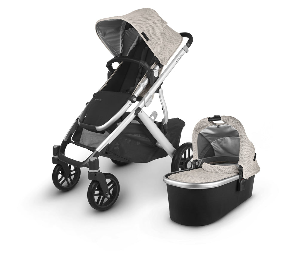 uppababy vista v2 stroller sierra dune knit silver frame black leather with bassinet