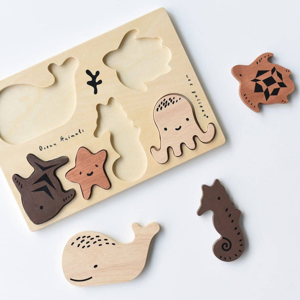 wee gallery wooden tray puzzle ocean animals