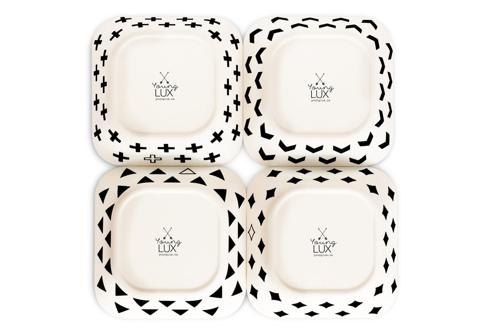 young lux eco friendly bamboo bowls set of 4 scandinavian series chevron diamond triangle swiss