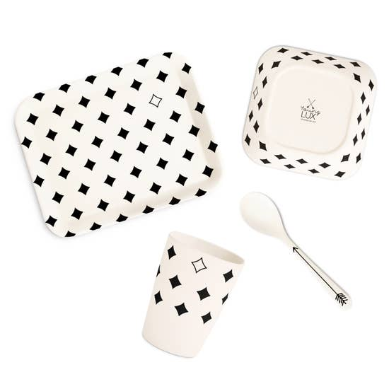 young lux eco friendly bamboo fiber tableware gift set plate spoon cup bowl diamond