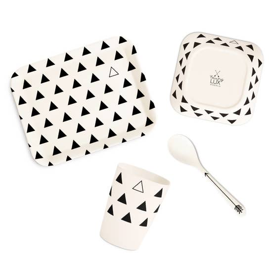 young lux eco friendly bamboo fiber tableware gift set plate spoon cup bowl triangle