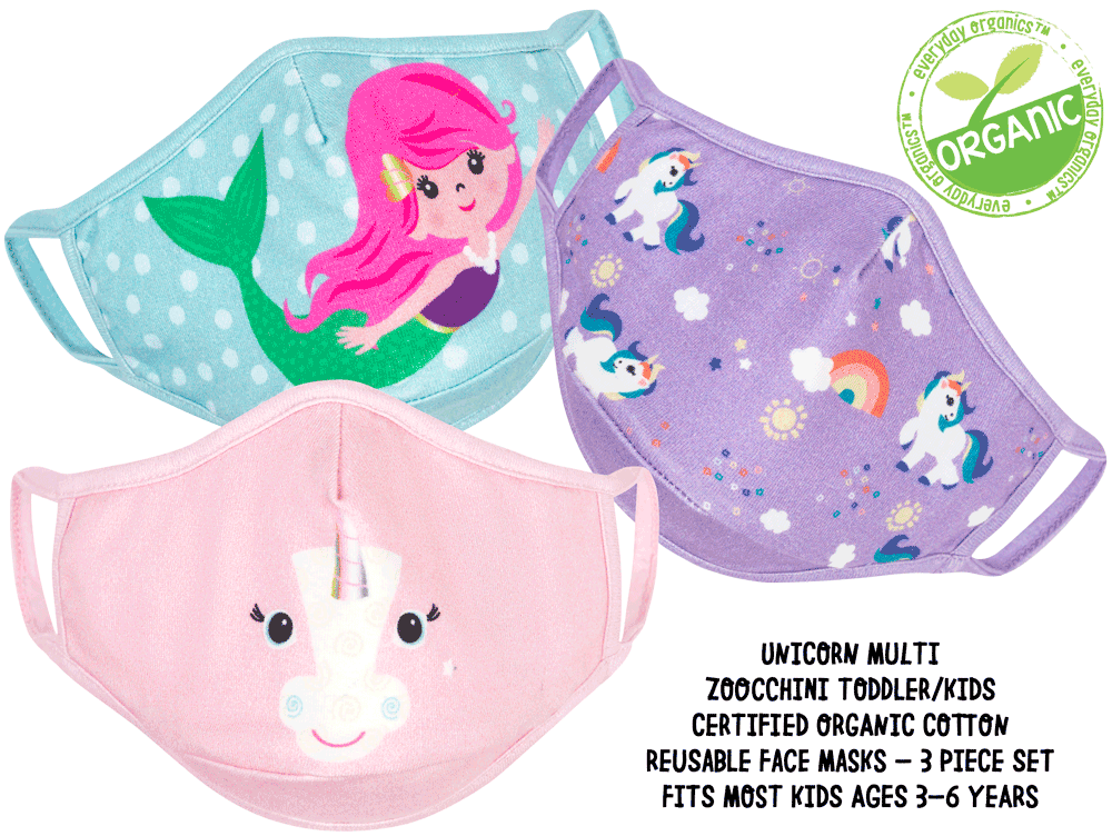 Organic Reusable Masks (3 pk) - Unicorn