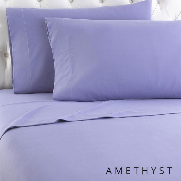 Microfiber sheets, brushed for warmth and permanent softness. Amethyst.