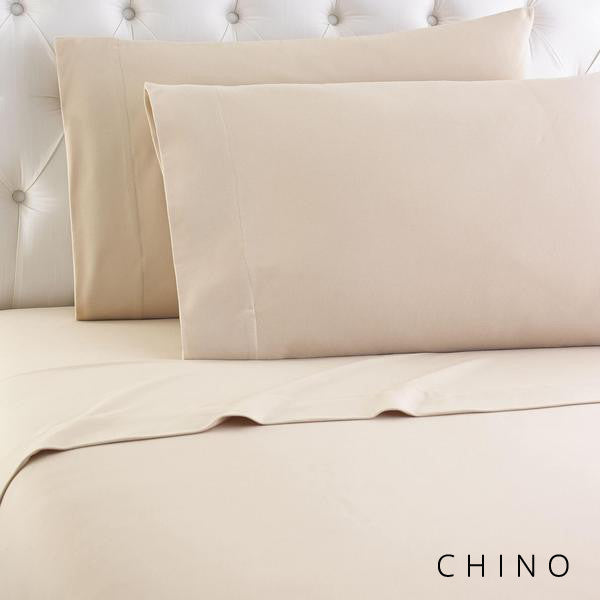 Microfiber sheets, brushed for warmth and permanent softness. Chino.