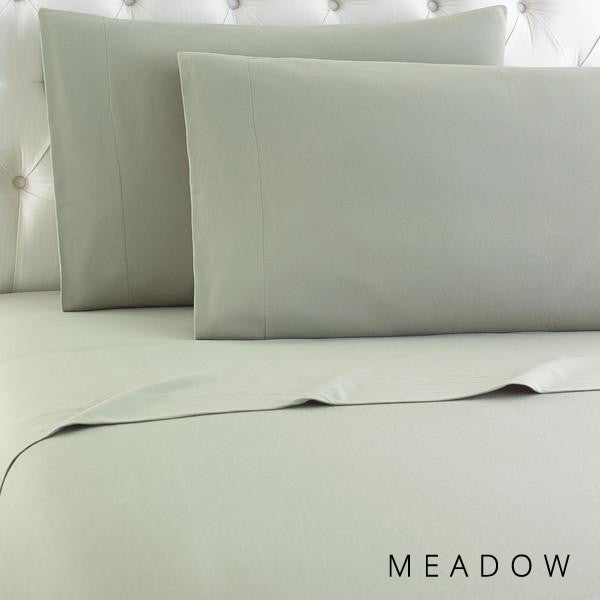Microfiber sheets, brushed for warmth and permanent softness. Meadow.