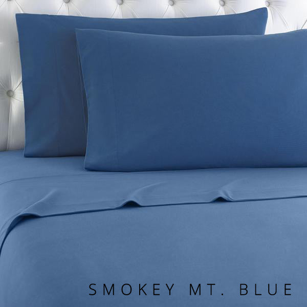 Microfiber sheets, brushed for warmth and permanent softness. Smokey blue.
