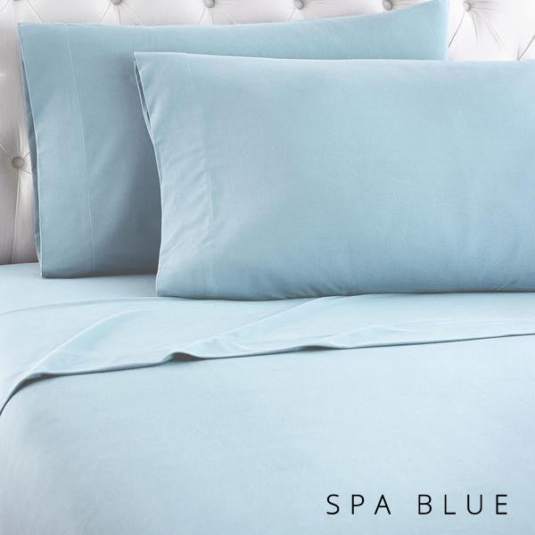 Microfiber sheets, brushed for warmth and permanent softness. Spa Blue.