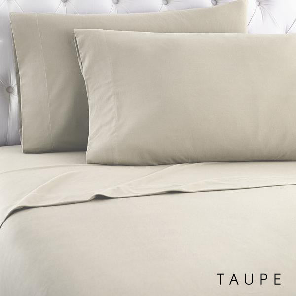 Microfiber sheets, brushed for warmth and permanent softness. Taupe.
