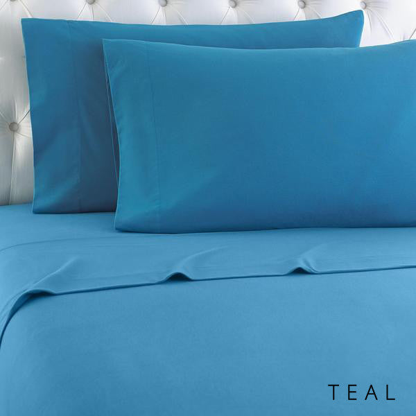 Microfiber sheets, brushed for warmth and permanent softness. Teal.