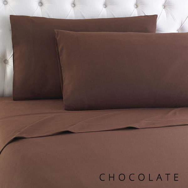 Microfiber sheets, brushed for warmth and permanent softness. Chocolate.