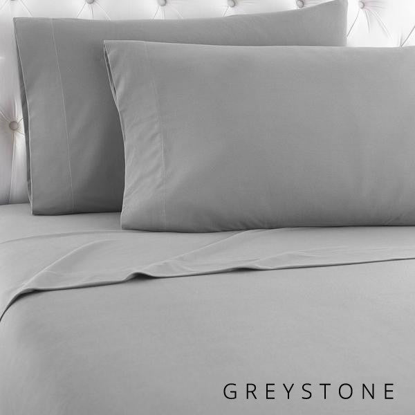 Microfiber sheets, brushed for warmth and permanent softness. Greystone.