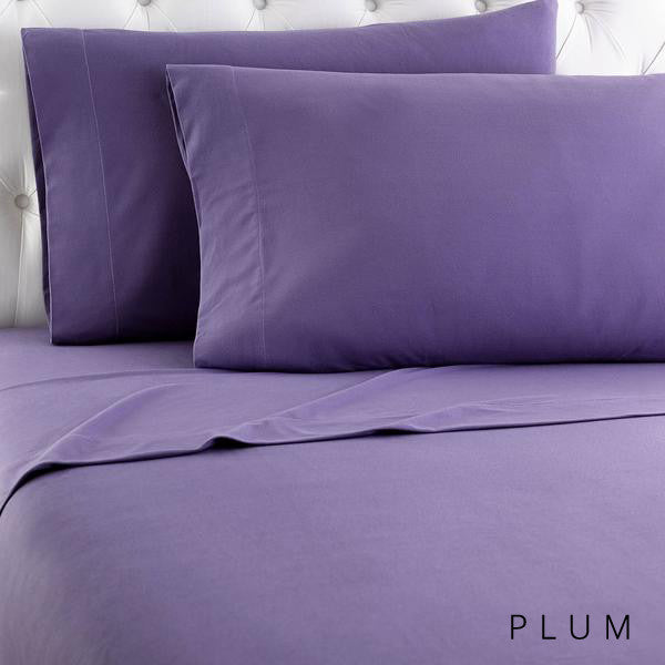 Microfiber sheets, brushed for warmth and permanent softness. Plum.