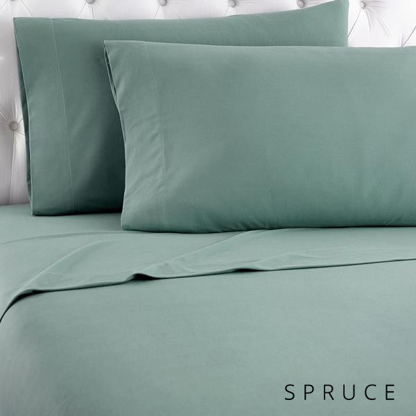 Microfiber sheets, brushed for warmth and permanent softness. Spruce.
