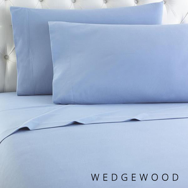 Microfiber sheets, brushed for warmth and permanent softness. Wedgewood Blue.