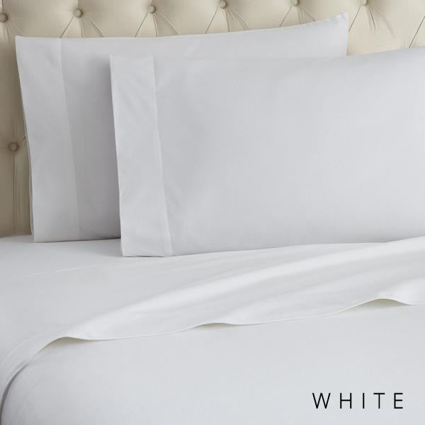 Microfiber sheets, brushed for warmth and permanent softness. White.