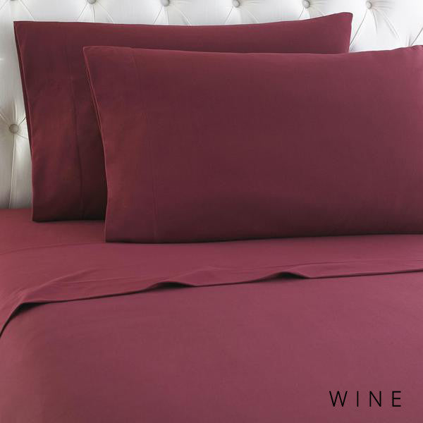 Microfiber sheets, brushed for warmth and permanent softness. Wine.