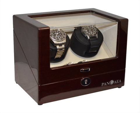Pangaea D310 Double Watch Winder - Mahogany (Battery or AC Powered)