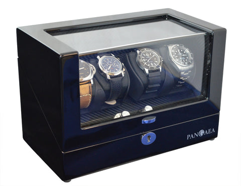 Pangea Q350 Quad Automatic Watch Winder with LED Lights - Black