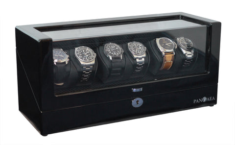 Pangea Q630 Automatic Six Watch Winder with LED Light- Black