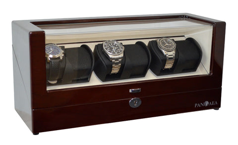 Pangea Q630 Automatic Six Watch Winder with LED Light- Mahogany