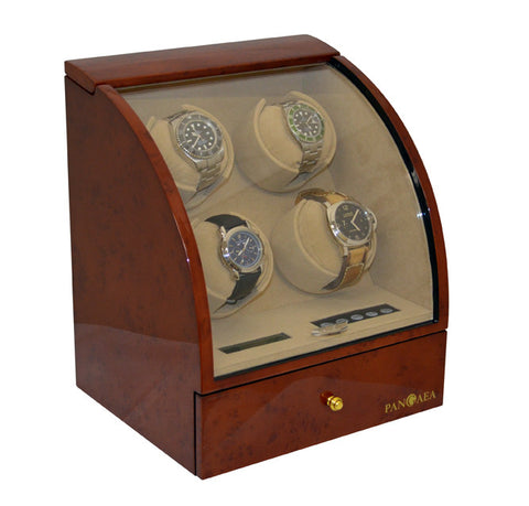 Pangaea Q400 Quad Automatic Watch Winder - Burlwood