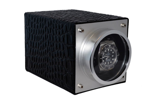 Pangaea S750 Single Metal Watch Winder - Black Leather (Battery or AC Powered)