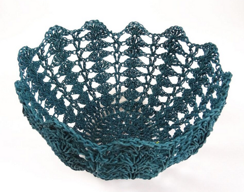 Aqua Crochet basket - Moon Basket
