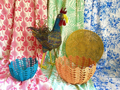 Floral fabrics and african baskets