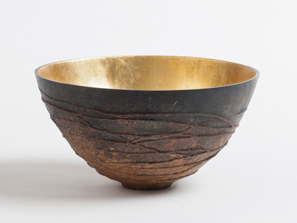 Bronze Bowl Mottled Brown with Spiral Texture