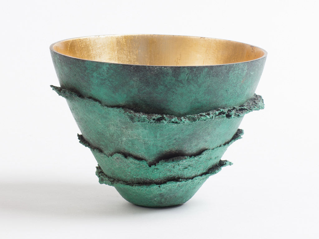 Bronze Bowl with Green Patina Mushroom Texture