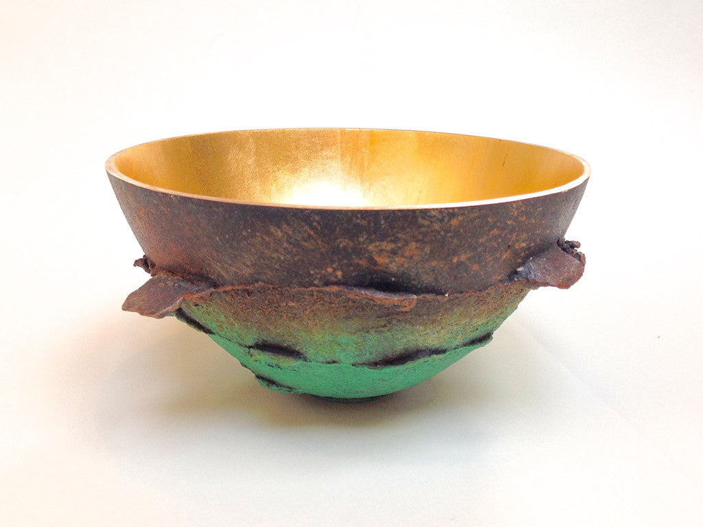 Bronze Bowl Brown to Green with Mushroom Texture