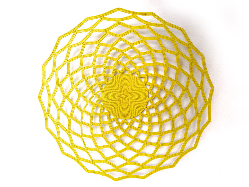 Large Wire Lace Platter in Yellow