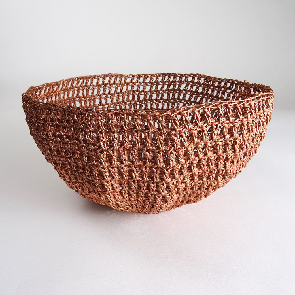 Copper Crochet Basket Bodhi Stitch