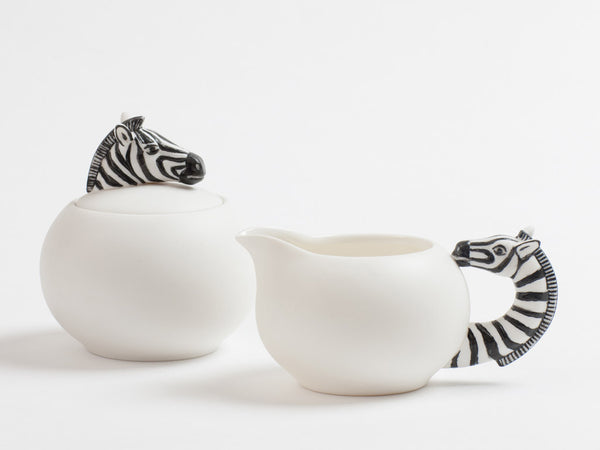 Zebra Creamer and Sugar Pot