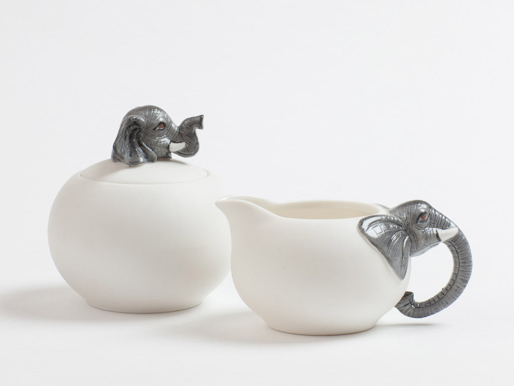 Ceramic Elephant Creamer and Sugar Pot