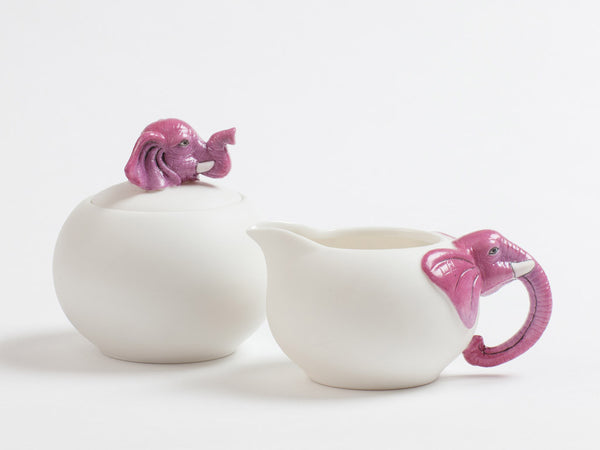 Pink Elephant Sugar & Creamer set