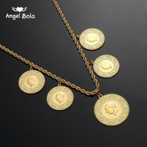 c0e57494c NEW Arabic Coin Muslim Islam Middle East Necklace for Women Gold Color Arab/Africa  Islamic